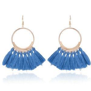 Jewelry - Long Tassel Fringe Boho Dangle Earrings BLUE